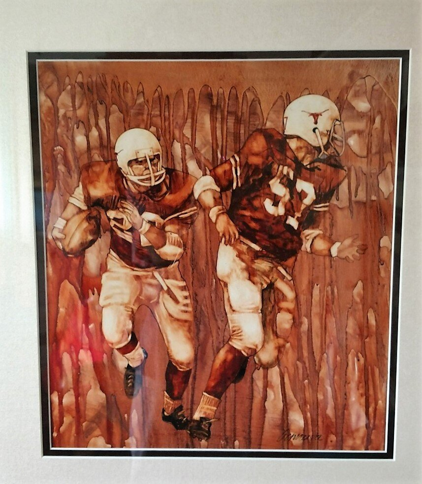 UCLA game 1970 painting by Ragan Gennusa