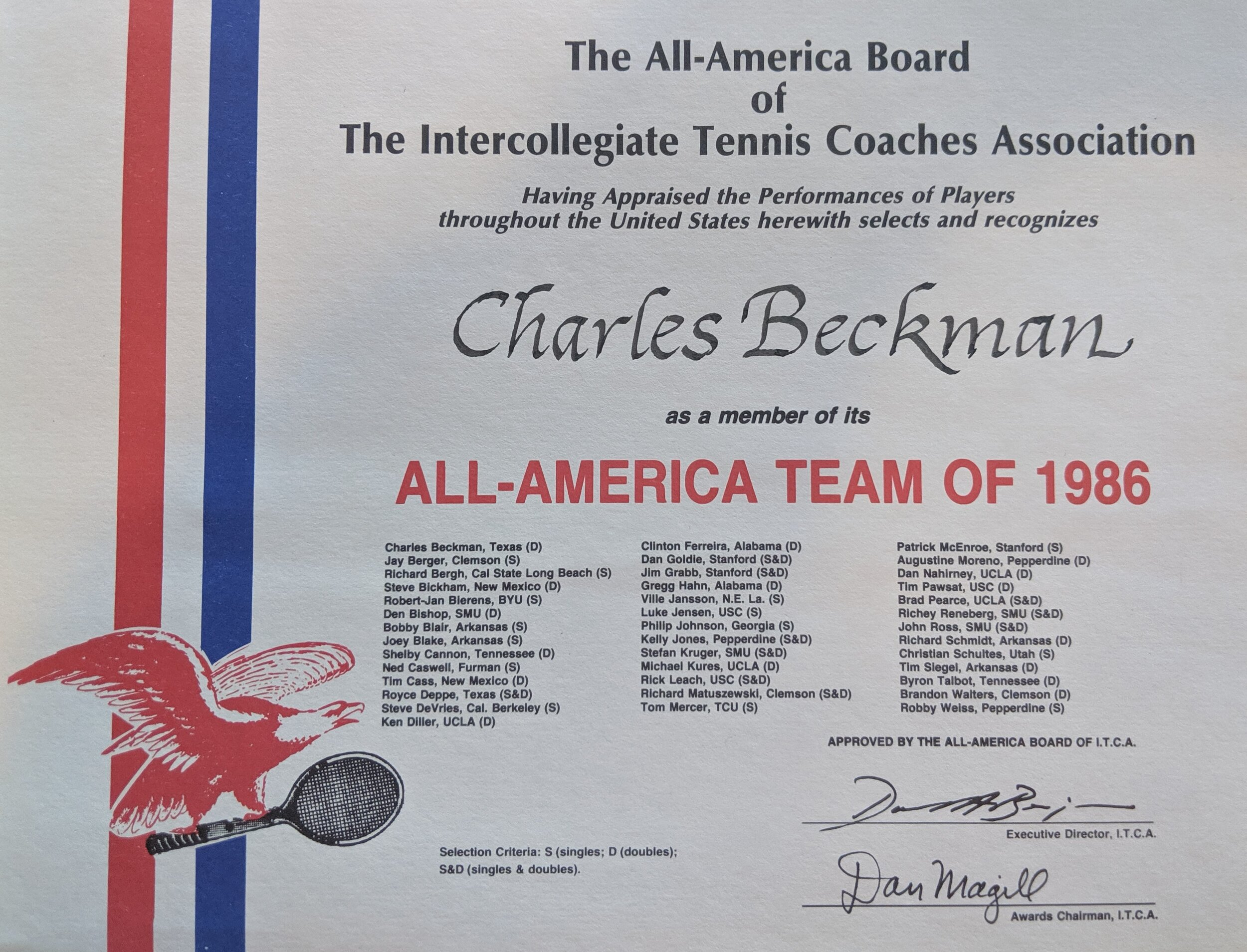 Charles Beckman is a ITA All American in 1985,1986, and 1987 -