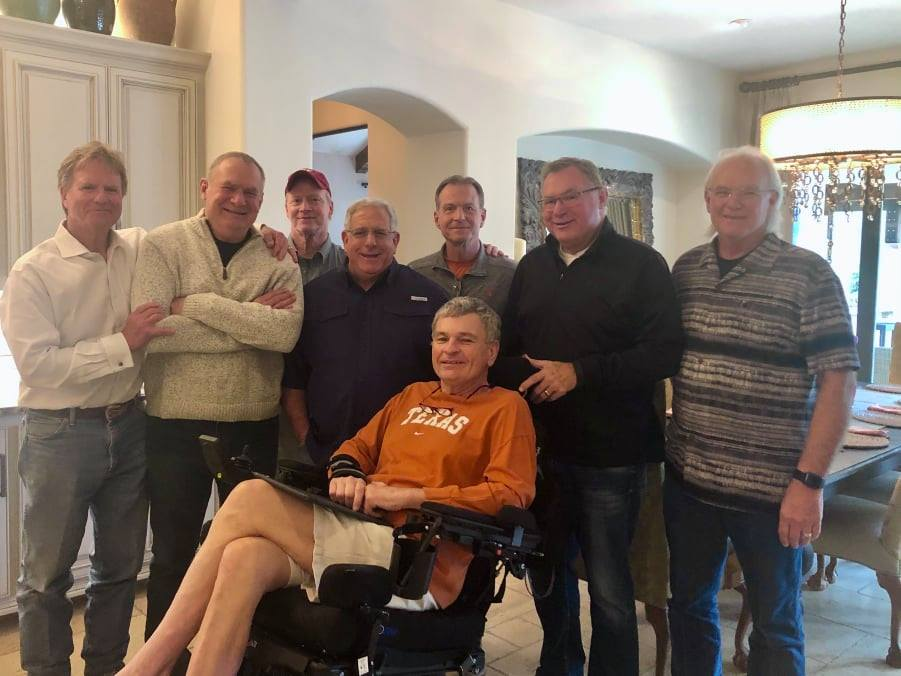 - l to R : Mike Hardage, Garry Smith, Rick Fenlaw, Joey Aboussie, Paul Walker, Larry Smith, David Milam.Seated is Jim Hilliard.Author Dick Baird wrote an article in 2003 stating:Football has an incredible bonding aspect to it. It absolutely demands an emotional investment. This is what makes it such a powerful force in character development as well as sacrifice. You never question anything about each other. It's an understood respect. This is my teammate. We will always be on the same team.