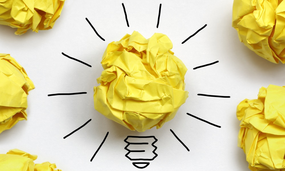 Light bulb switched on to indicate a good idea relating to intellectual property