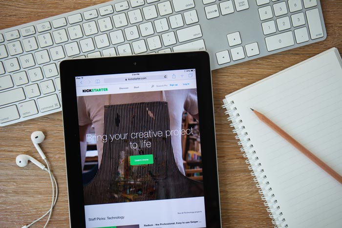 An iPad displaying the Kickstarter website