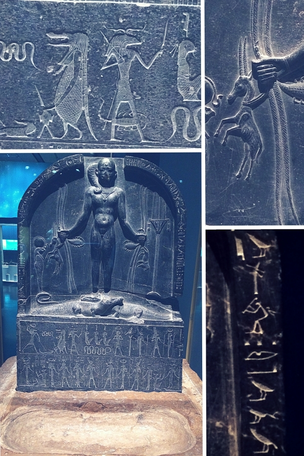 Horus Cippus, 380-342BC, Egyptian Museum, with details of scenes (above and top right) and hieroglyphs (bottom right). Photo author's own.