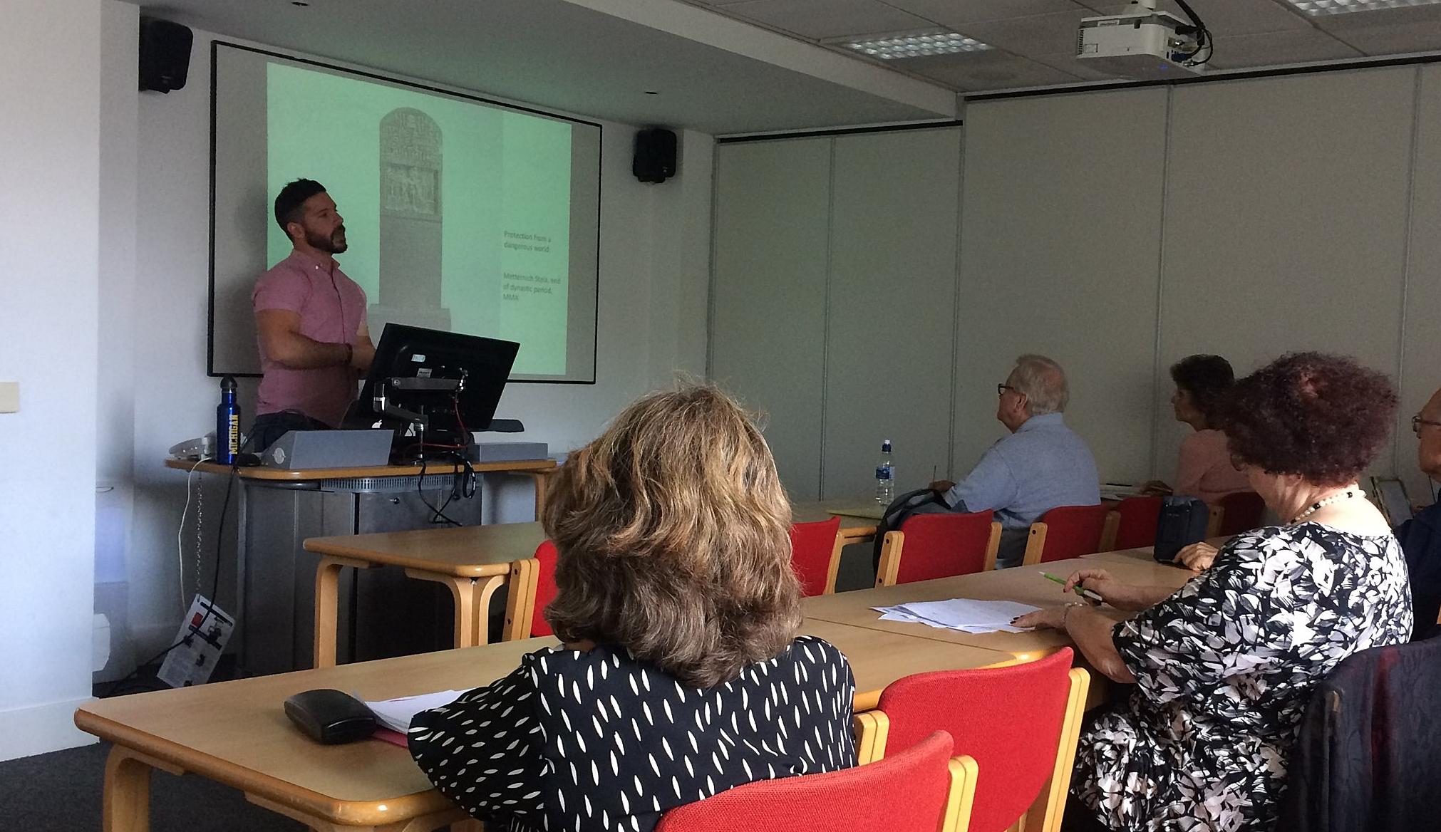 Dr Luigi Prada talking about the Metternich Stela