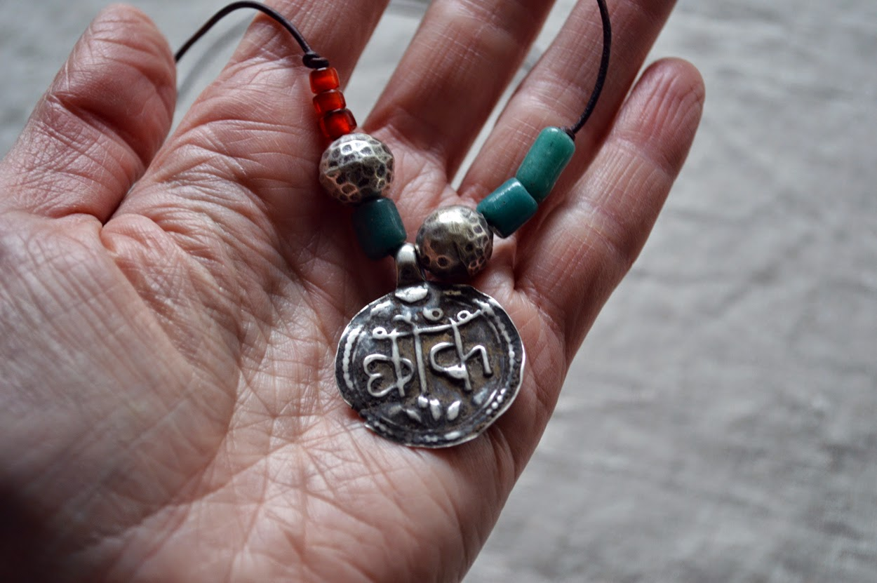 sanskrit medallion necklace