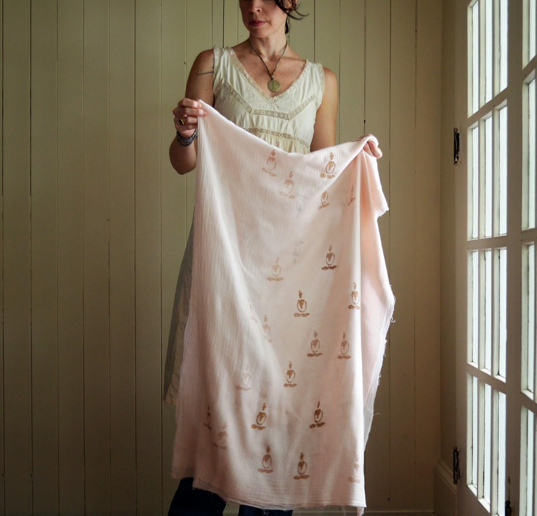 untold imprint Sandalwood dyed cotton scarf