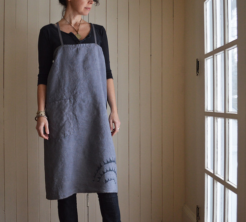 Charcoal blue 'Sovereign' hemp full apron dress. Handmade by Untold Imprint.