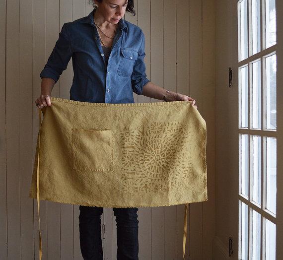 ochre hemp linen cafe apron by Untold Imprint.