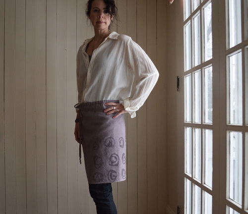 lilac 'Fray' half apron. hand printed & dyed by Untold Imprint.