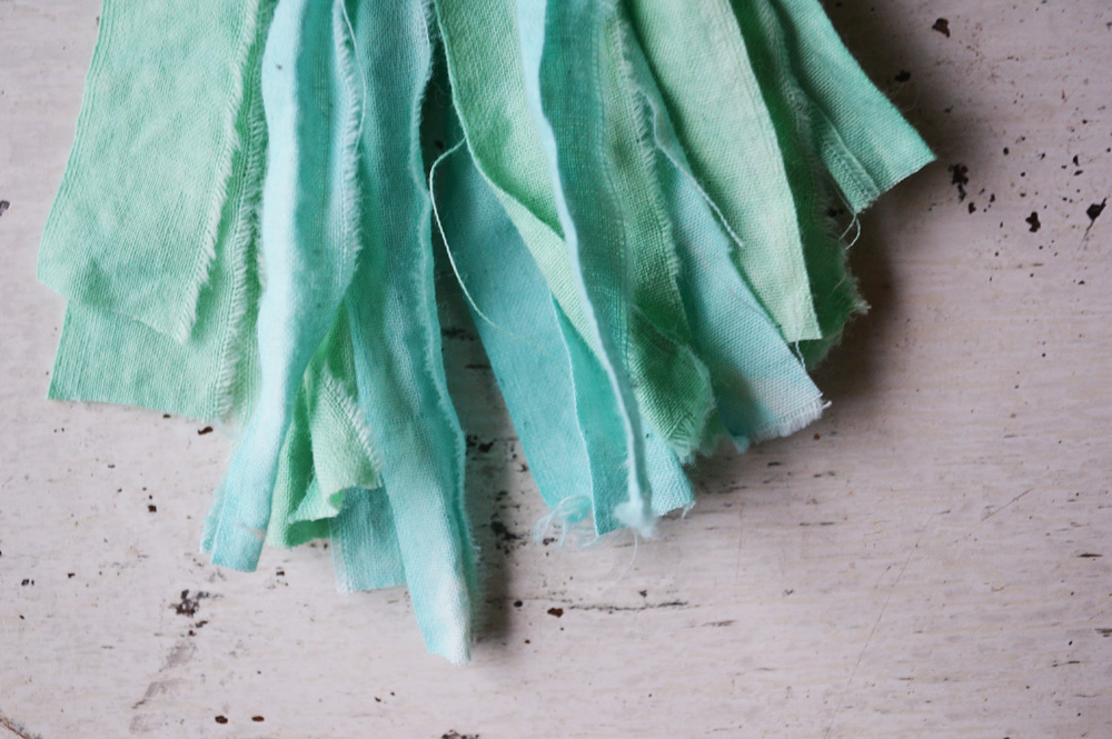 tassel clip in shades of aqua blue by Untold Imprint