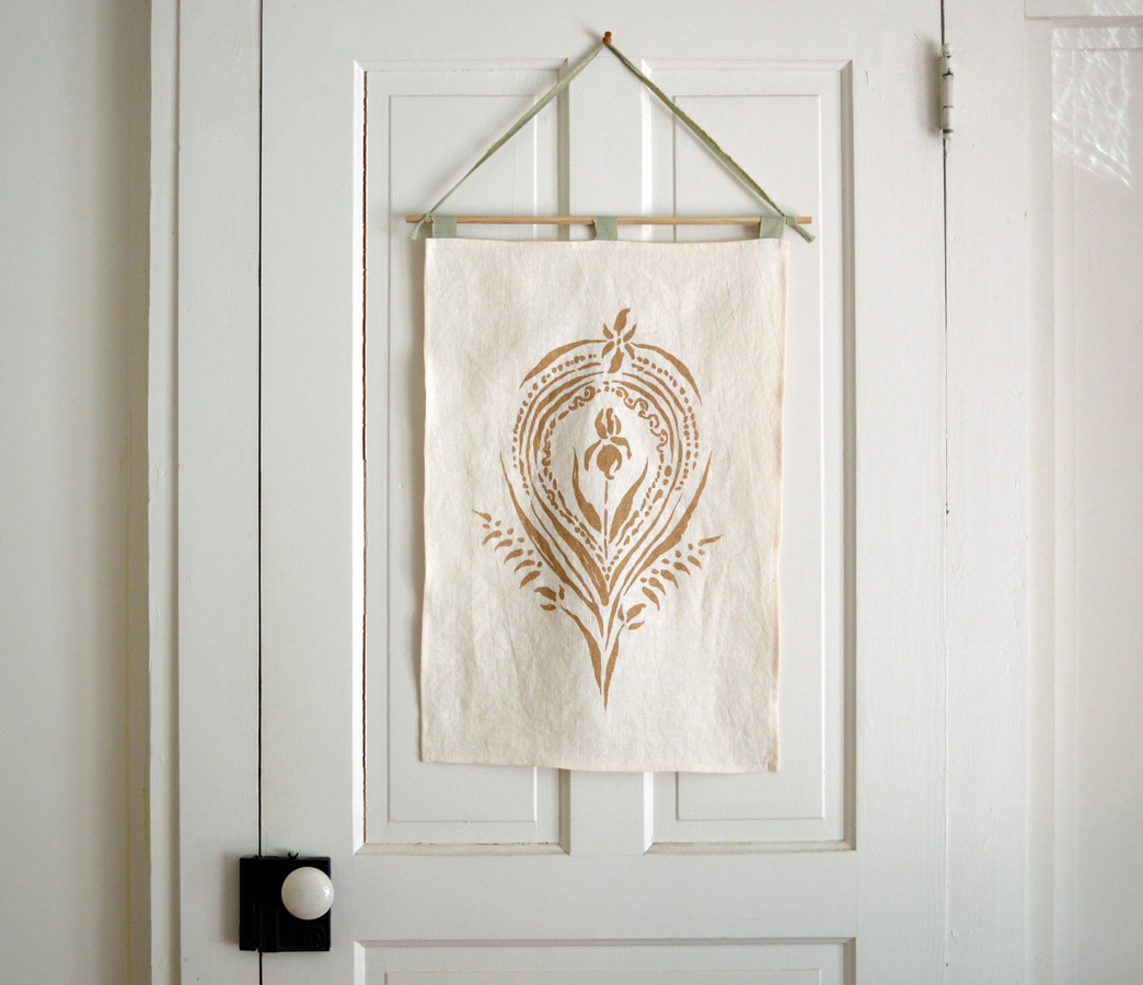Wall hanging with Mother Earth Altar printed on natural earthy hemp textile by Untold Imprint