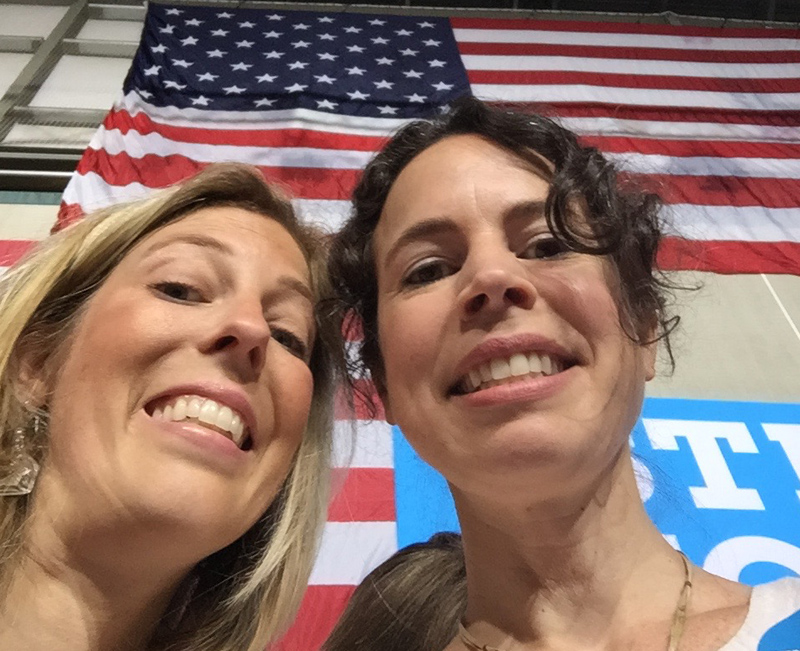 My sister Zoe and me at a Hillary rally in August 2016.