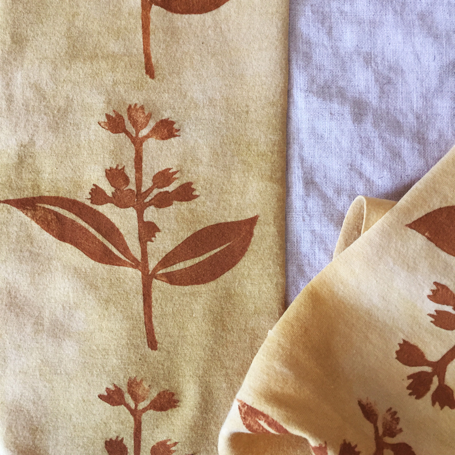 block printed fabric, naturally dyed with marigold & pomegranate