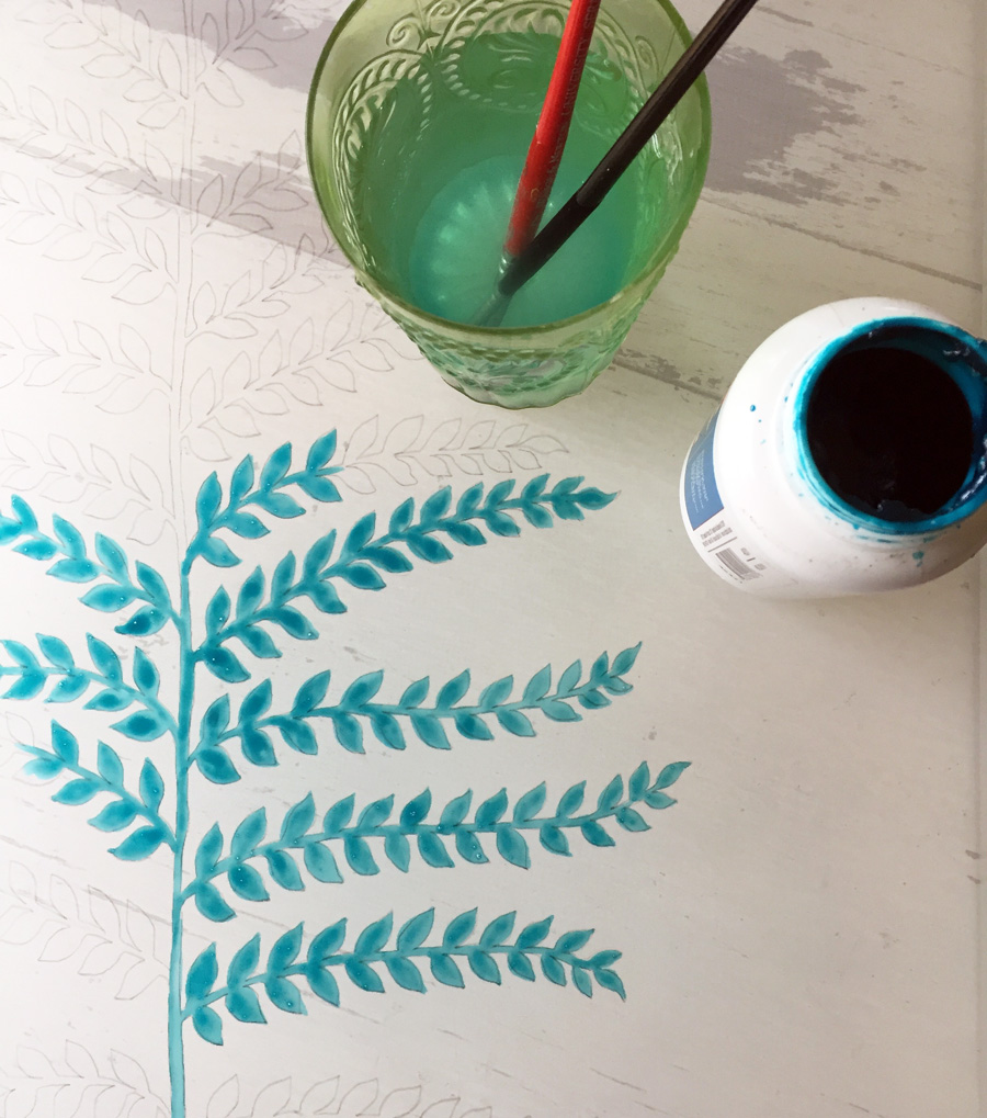 painting fern pattern with drawing fluid on printing screen - Untold Imprint