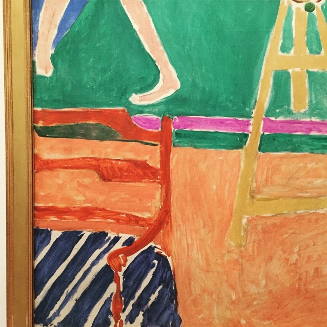 """detail of  Nasturtiums with the Painting """"Dance""""  by Henri Matisse."""