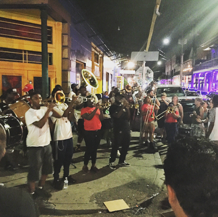 Young Fellaz Brass Band on the corner of Frenchmen & Chartres Streets