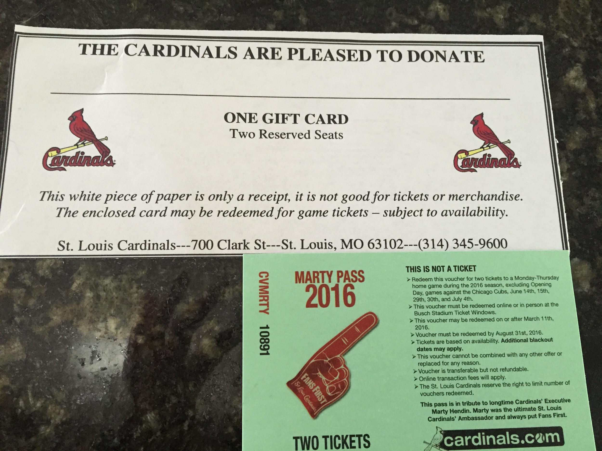 Voucher for Cardinals Tickets