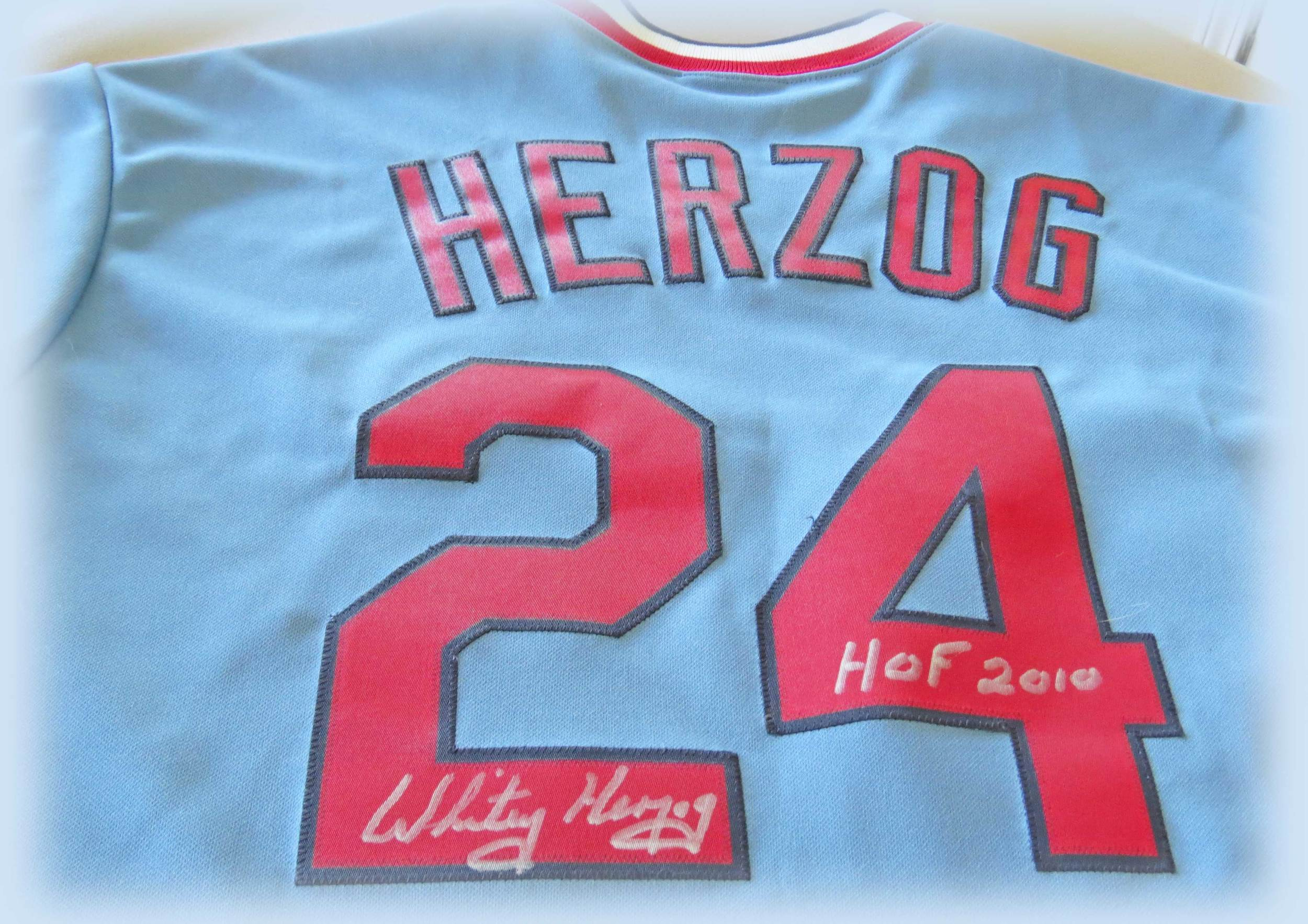 Jersey Worn by and Signed by Whitey Herzog