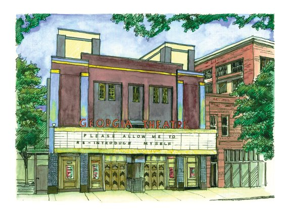 Georgia Theatre - by Seth McWhorter - Watercolor Illustration Print - Athens, Georgia - 9x12