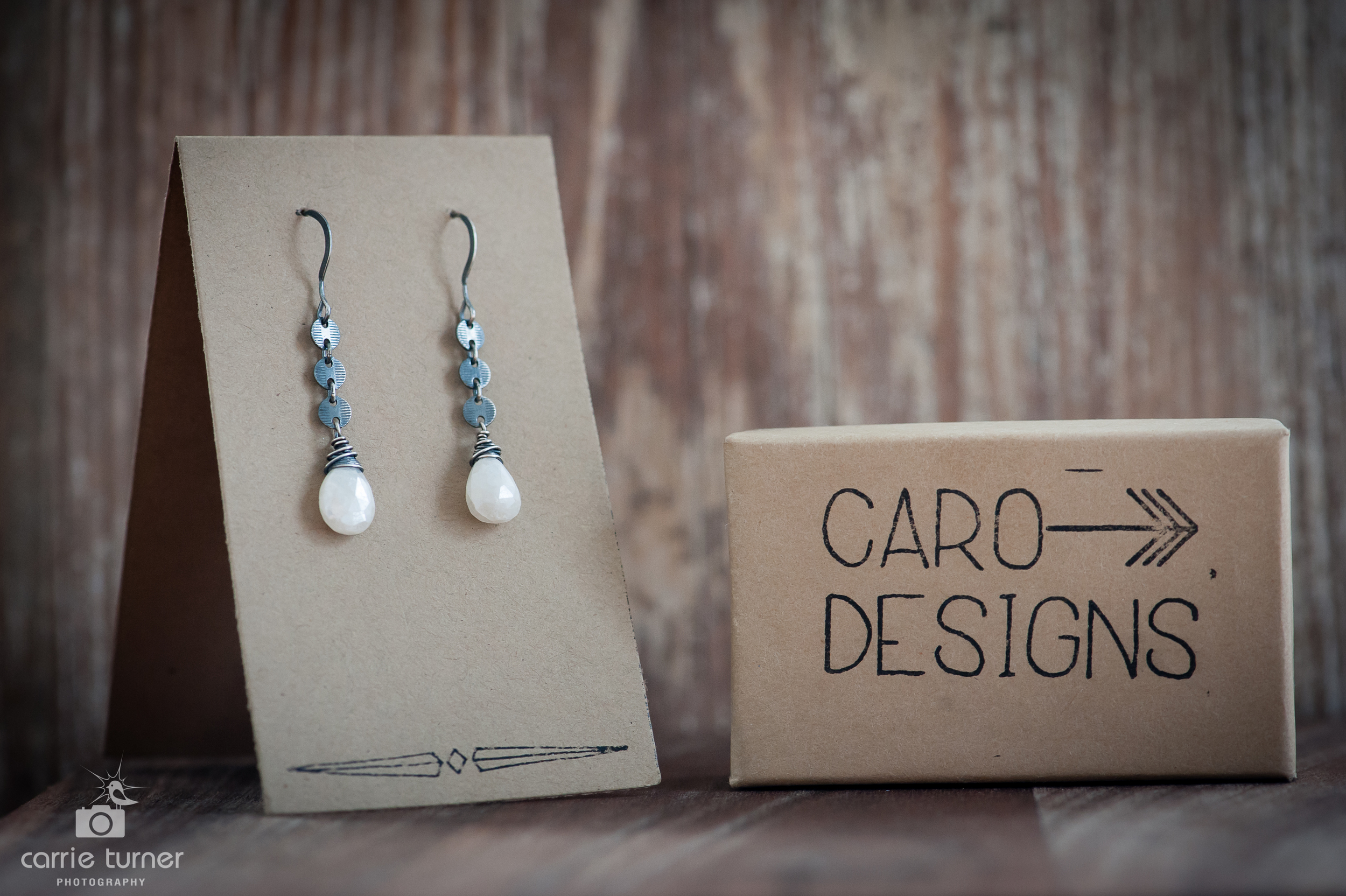 Beautiful White Sapphire Disc Chain earrings in Oxidized Sterling Silver from Caro Designs.