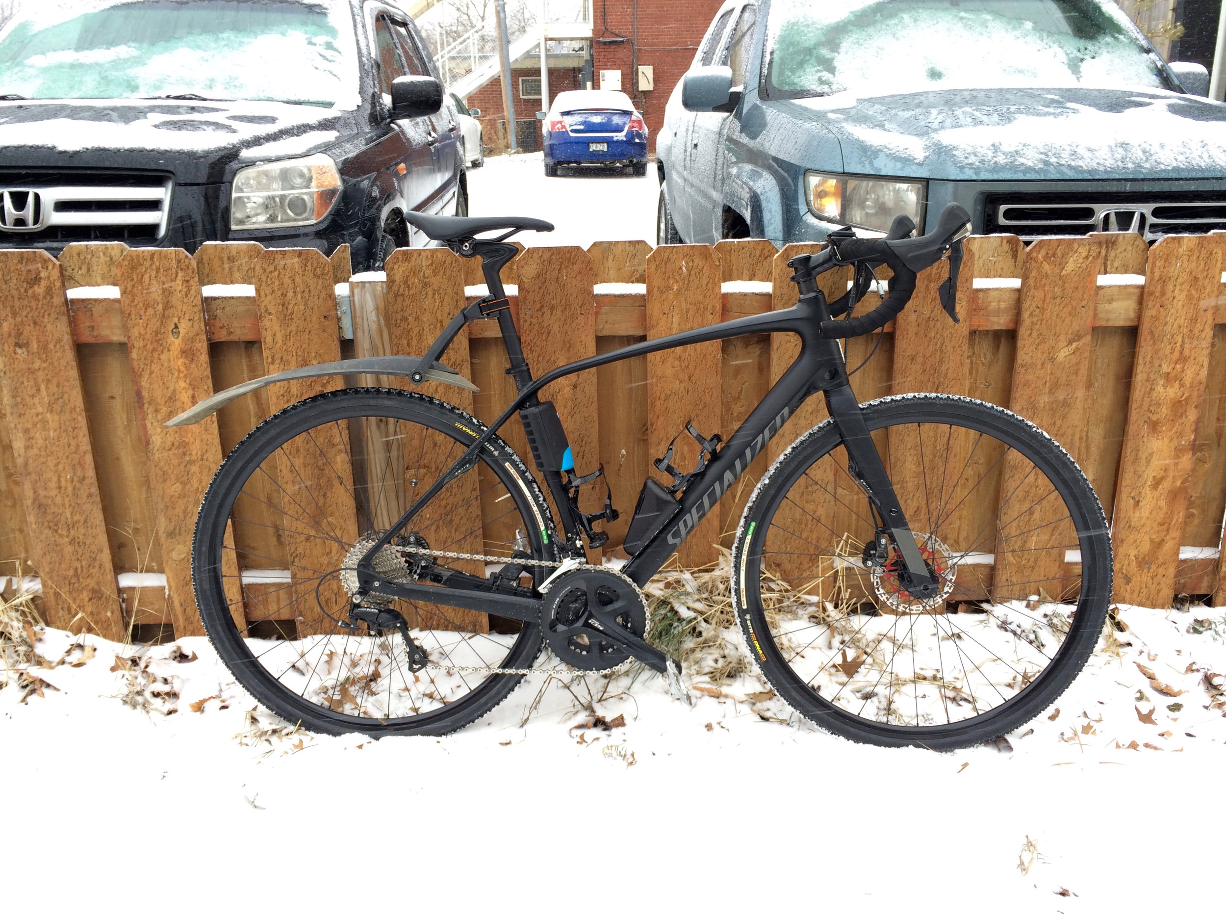 """In """"Full-Winter Mode"""" with 32mm knobby tires and a SKS X-Blade Mud Guard."""