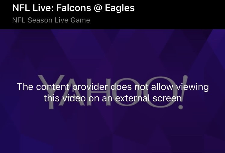 Mobile streaming rights stay on the small screen. App restrictions kick in to prevent NFL games from being displayed on a TV via direct connection or Airplay.
