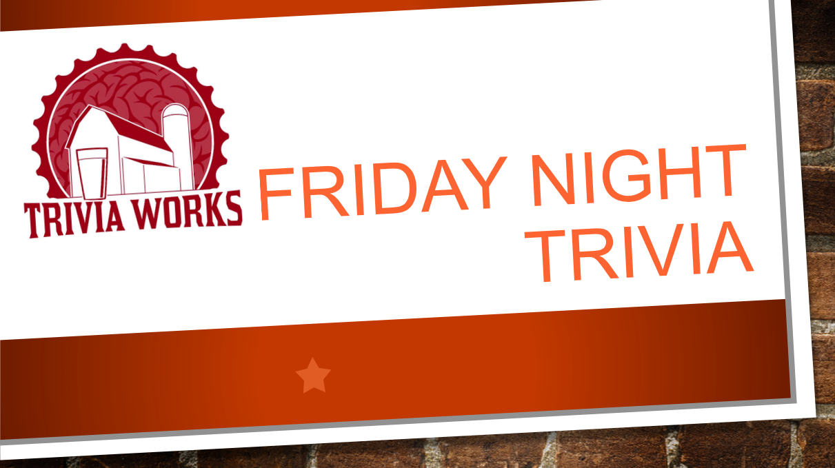 Come join us at the Amery Ale Works bar(n) for a night of trivia hosted by Trivia Works. We'll have food, wine and beer on tap while your trivia host, Heidi, guides you through the evening's questions.  The barn will be open at 5pm with trivia starting at 7:30pm.  Come on out and win some great prizes!