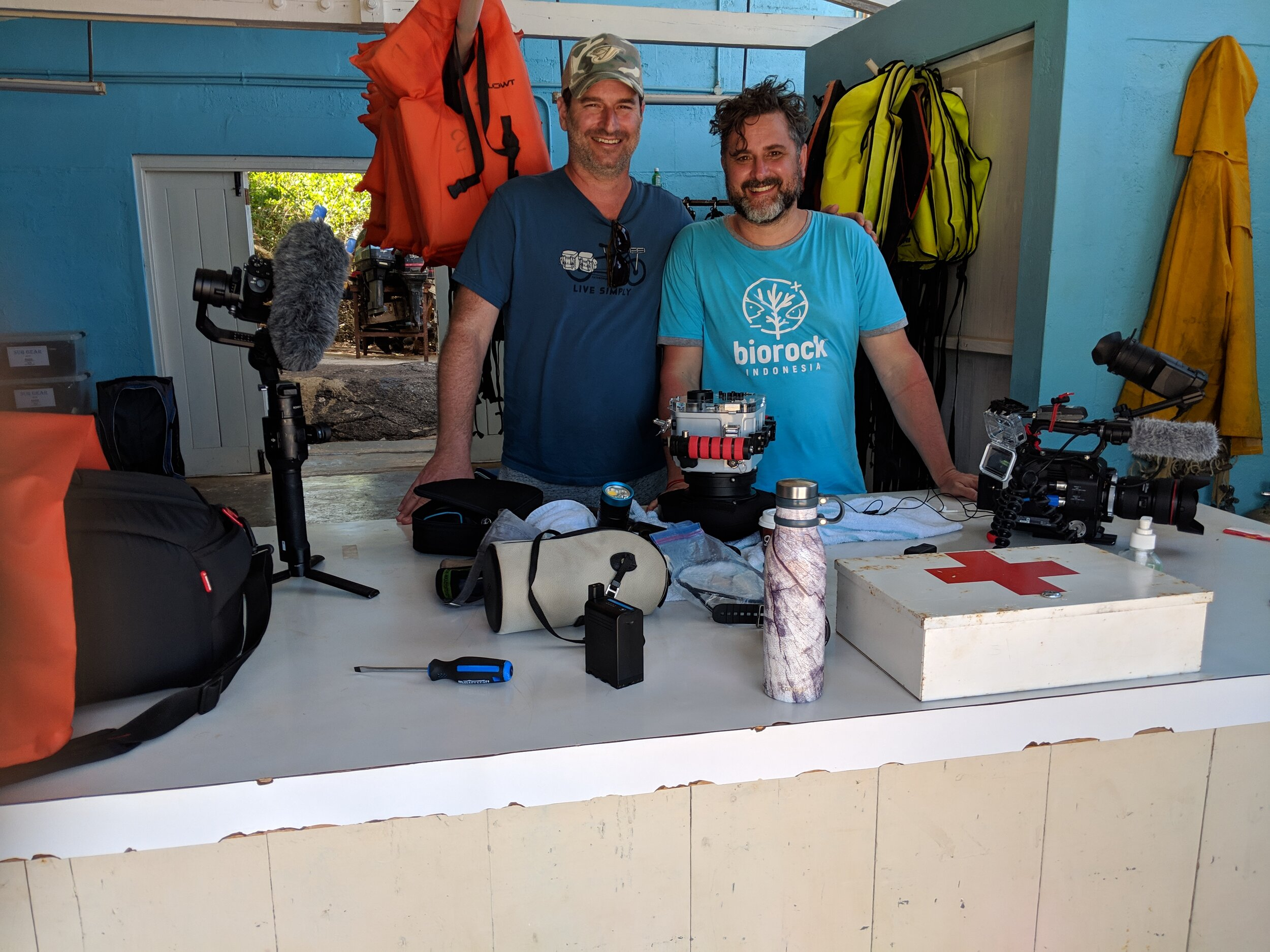 Iain Robinson poses with director Andrew Nisker in Discovery Bay, Jamacia