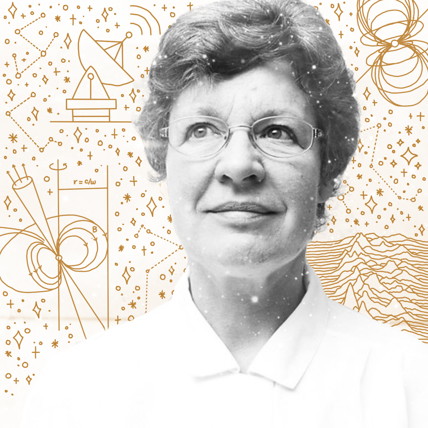 """Jocelyn Bell Burnell   Jocelyn Bell Burnell is an astrophysicist credited with """"one of the most significant scientific achievements of the 20th Century."""" As a postgraduate student, she discovered the first radio pulsars in 1967. The discovery was recognised by the award of the Nobel Prize in Physics to her thesis supervisor Anthony Hewish and to the astronomer Martin Ryle. Bell was excluded, despite having been the first to observe and precisely analyse the pulsars. For her part, Bell declined to cause a fuss, saying that she was simply glad to have played a part in the first Nobel awarded for astrophysics."""