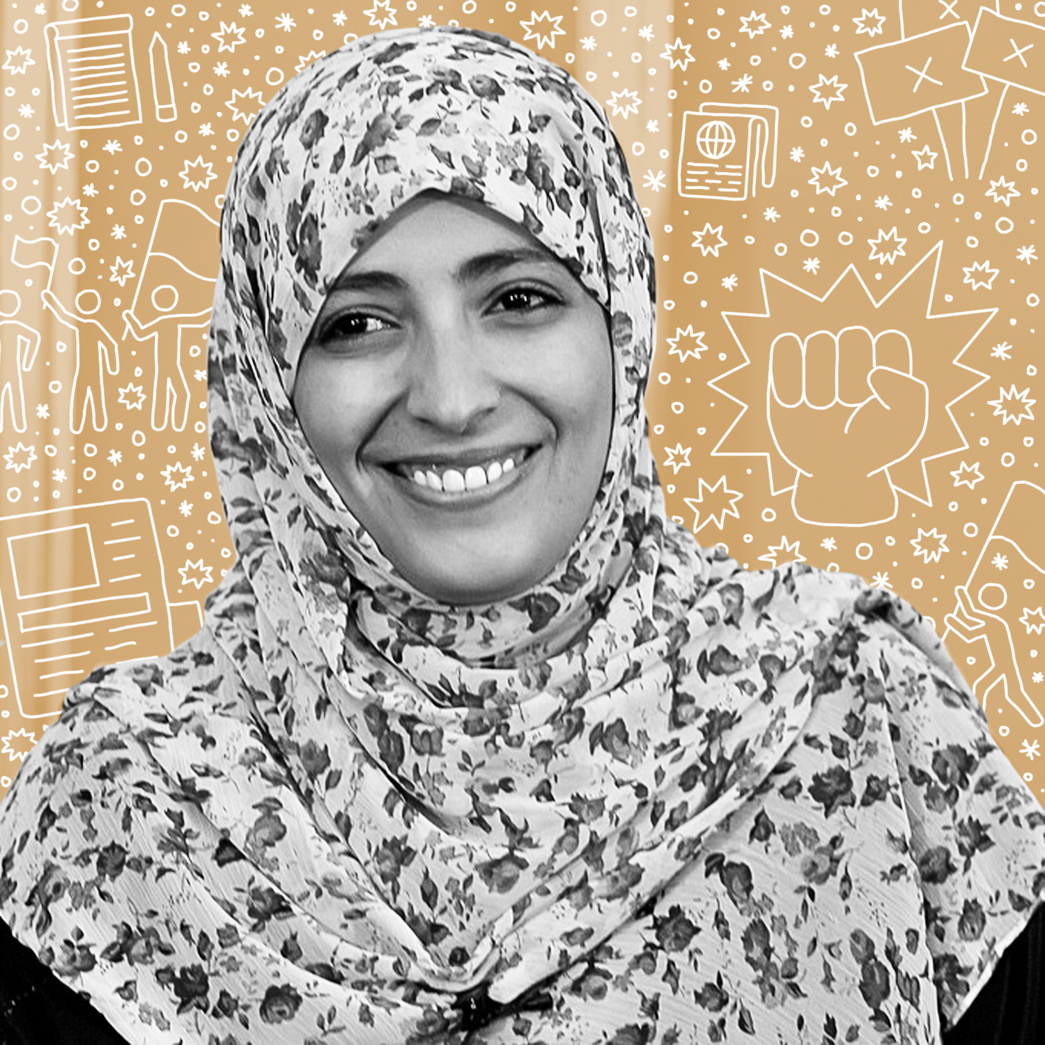 """Tawakkol Abdel-Salam Karman    Called the """"Iron Woman"""" and """"Mother of the Revolution,"""" Karman is a Yemeni journalist, politician, and human rights activist. She became the international public face of the 2011 Yemeni uprising that is part of the Arab Spring uprisings. She is a co-recipient of the 2011 Nobel Peace Prize, becoming the first Yemeni, the first Arab woman, and the second Muslim woman to win a Nobel Prize and the second youngest Nobel Peace Laureate to date."""