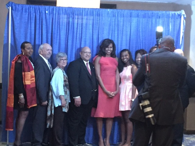 L-R: Florene Dawkins, Fred Fussell, Cathy Fussell, Charles Lewis (Alma Thomas's great-nephew), First Lady Michelle Obama, B.J. Chipman. The three folks to the right of B.J. are her grandmother, her mother, and Frank Mastoris.