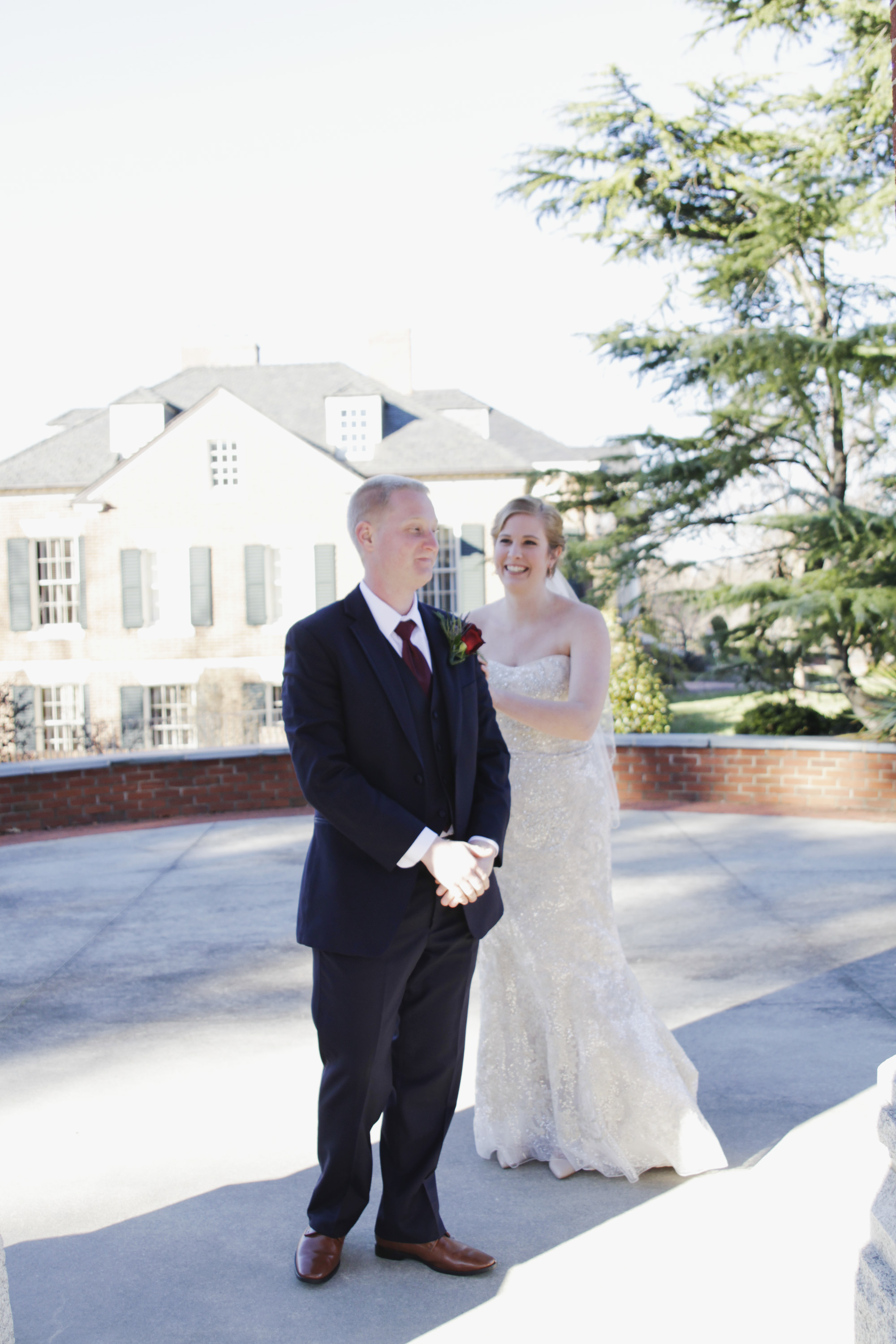 First Look UNCG Wedding Photography by Greensboro Winston Salem, NC Photographer