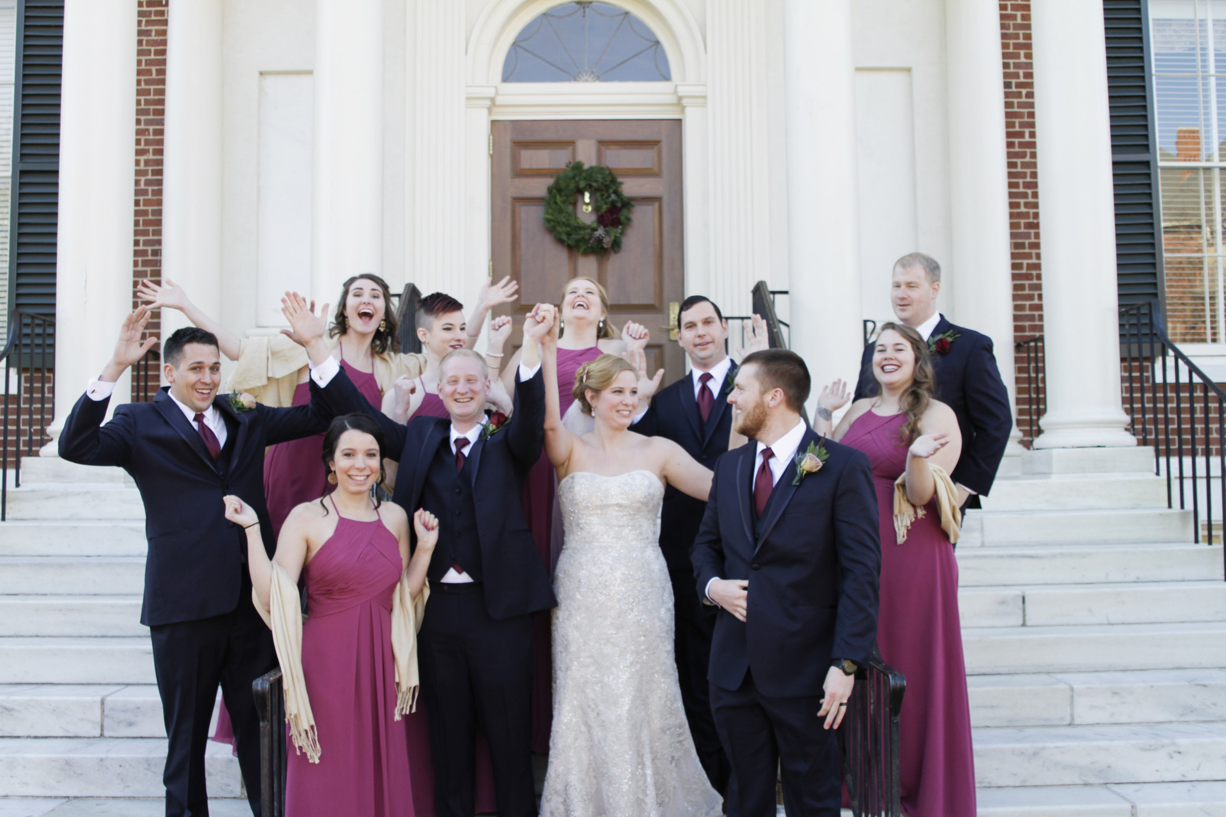 Wedding Bridal Party at UNCG by Greensboro Winston-Salem Photographer