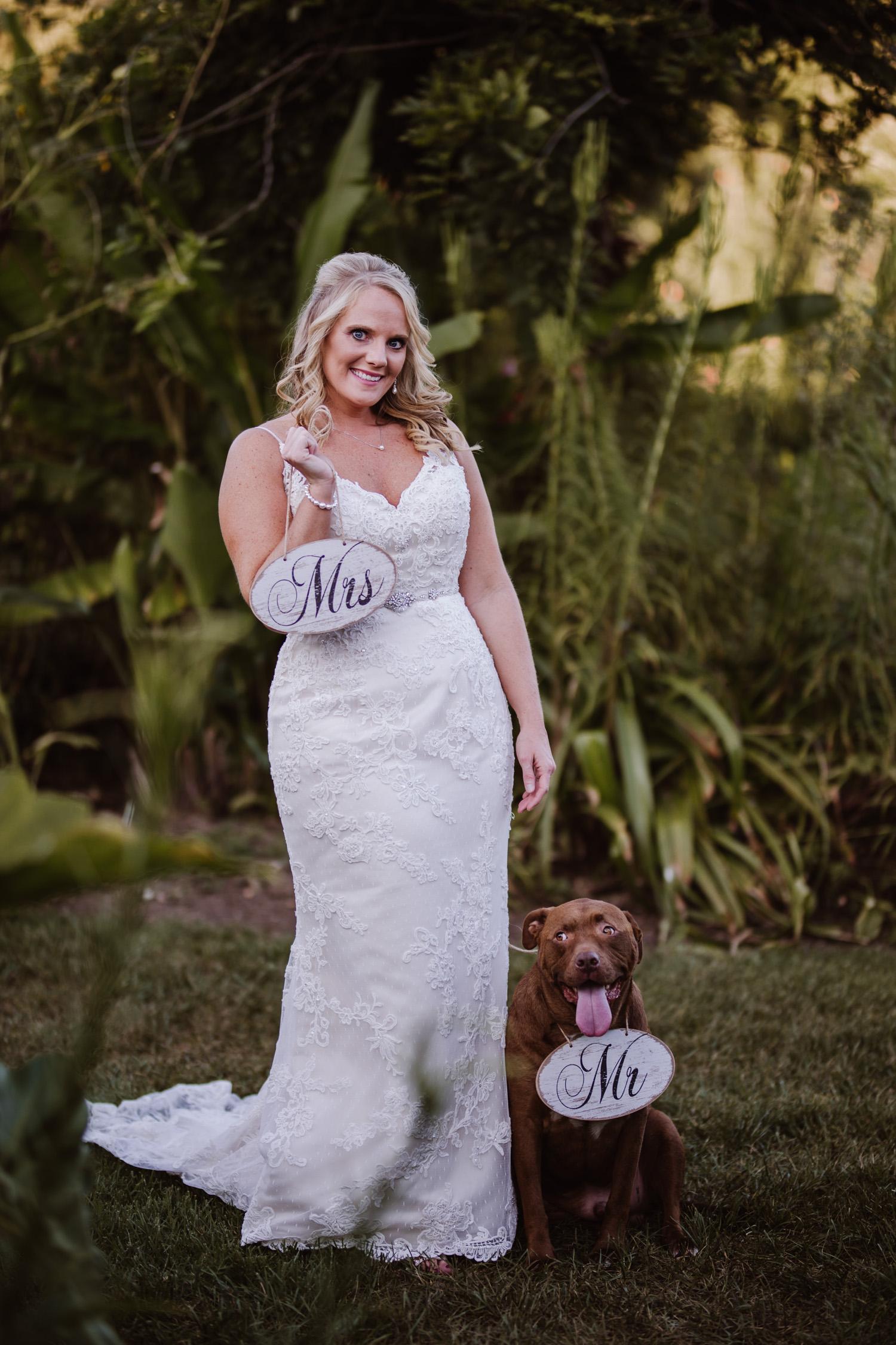Kristina's garden Bridal Portraits with dog | Triad, NC Wedding Photographer | Kayli LaFon Photography