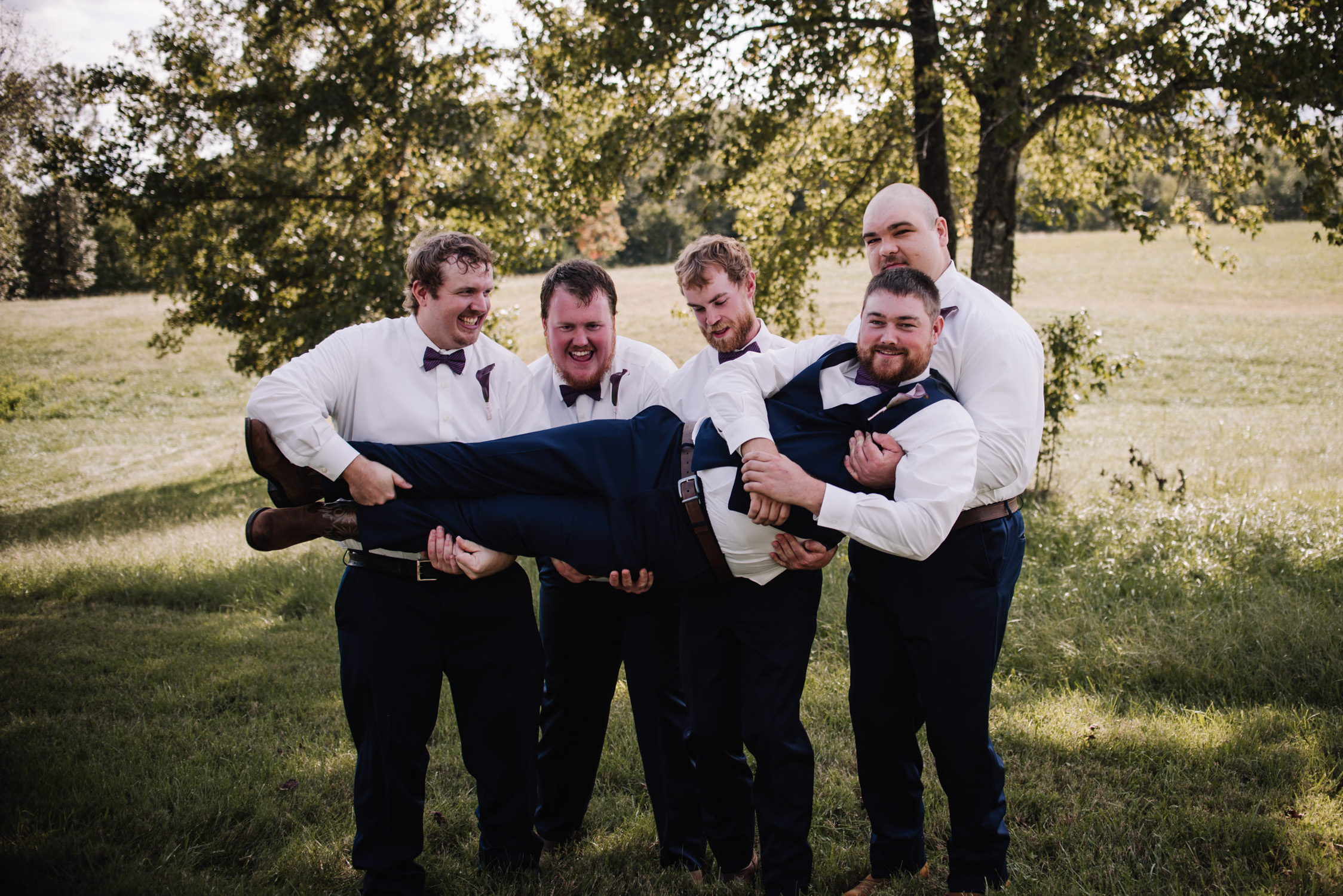 Classy, Southern, Country Wedding |  groomsmen, bridesmaids wedding party portraits at Atkinson Farms in Danville, Virginia | Greensboro Winston-Salem, NC Wedding Photographer