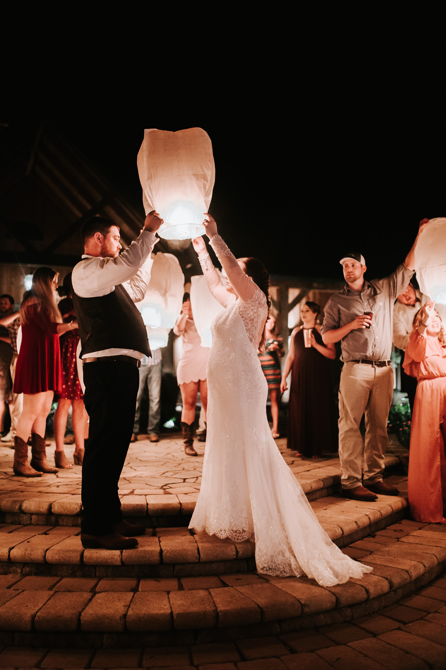 Classy, Southern, Country Wedding | Lantern Wedding Exit / Reception Send Off at Atkinson Farms in Danville, Virginia | Greensboro Winston-Salem, NC Wedding Photographer
