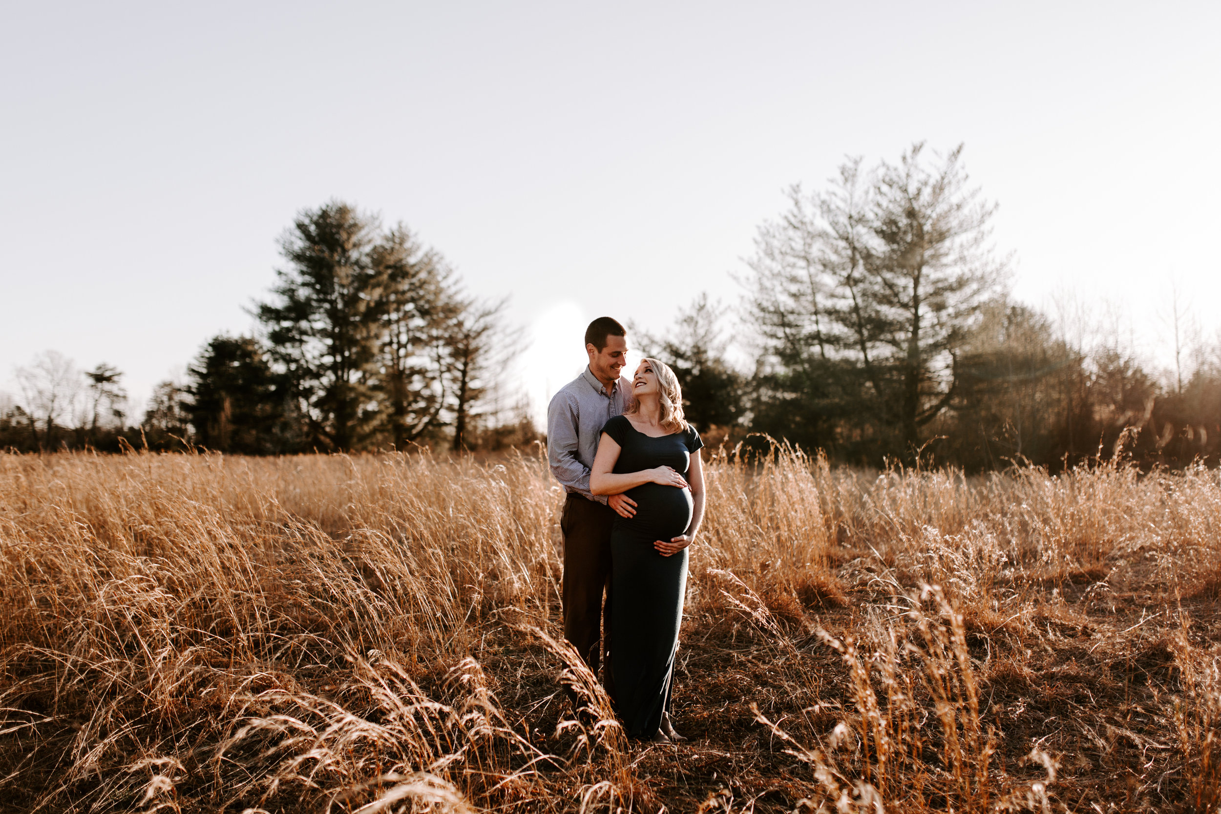 wild wheat field maternity session | Greensboro Winston-Salem, NC photographer