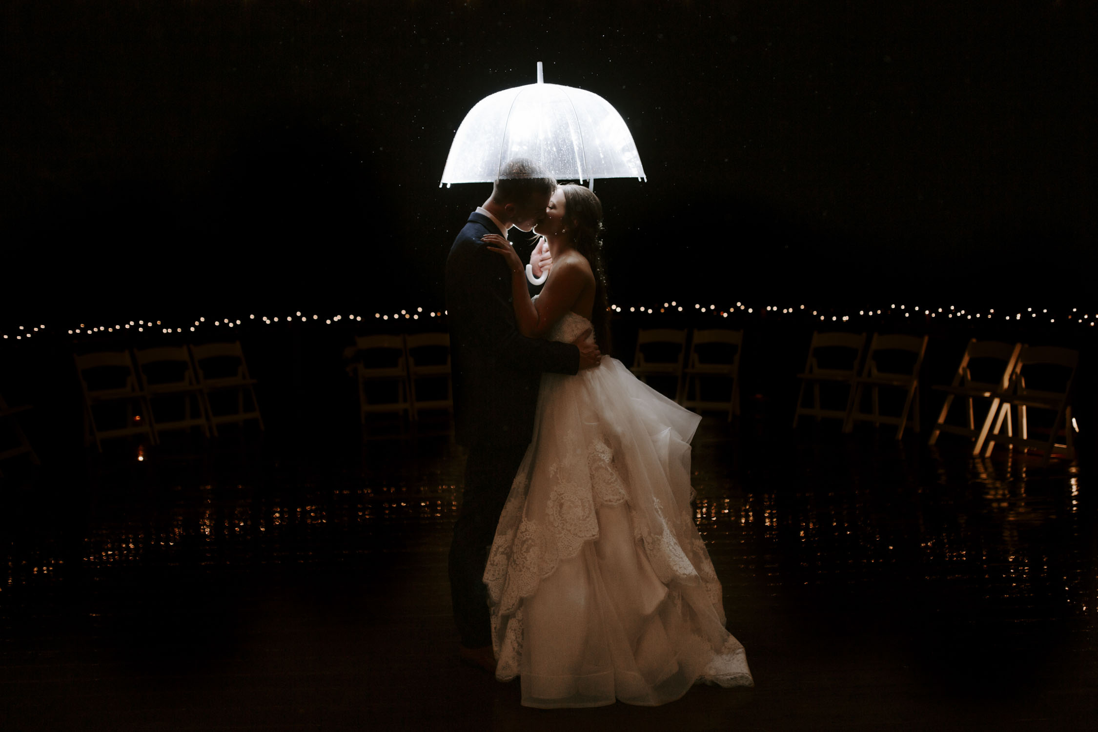 Rainy Bella Collina Wedding | Bride and Groom artistic flash portraits by Kayli LaFon Photography, Greensboro Winston-Salem, NC Wedding Photographer