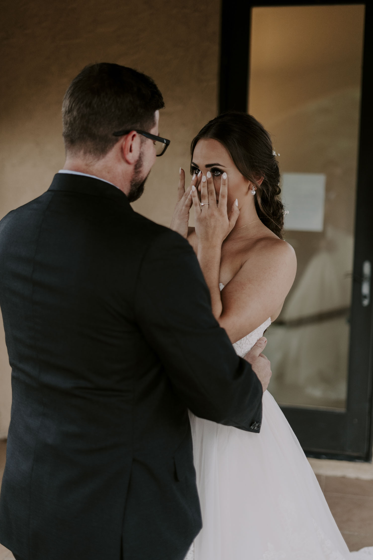 Rainy Bella Collina Wedding first look with father of the bride | Kayli LaFon Photography, Greensboro Winston-Salem NC Wedding Photographer