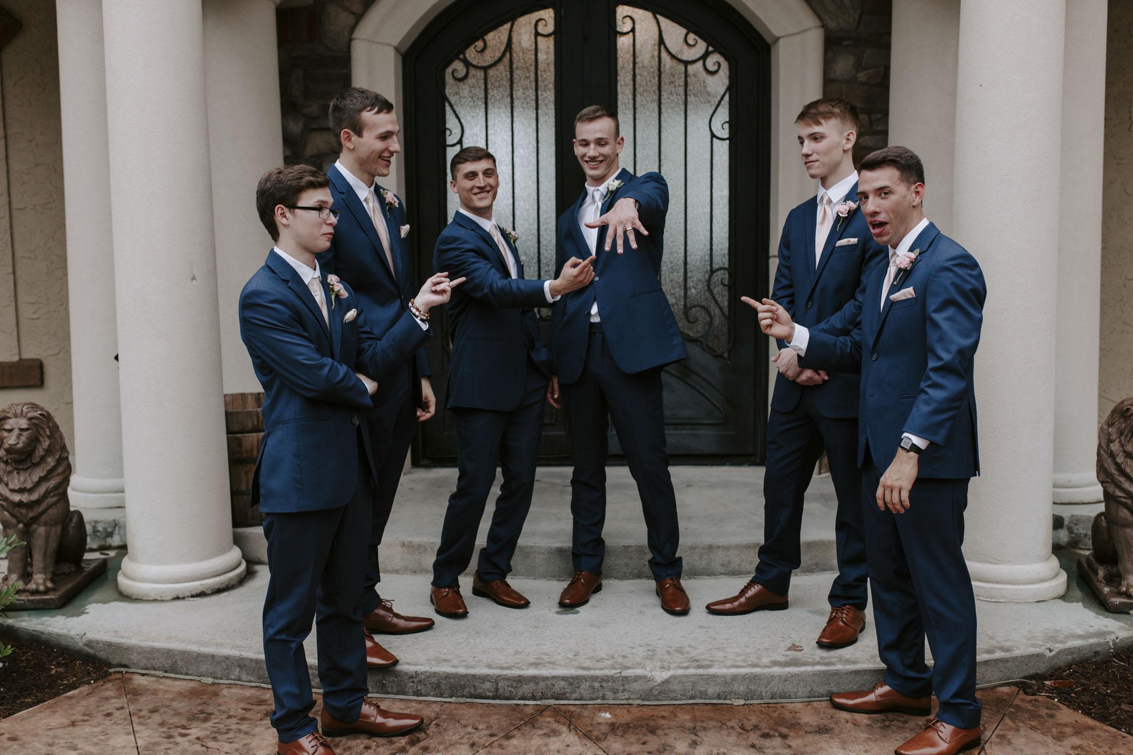 Rainy Bella Collina Wedding Party Portraits - Groomsmen | Kayli LaFon Photography, Greensboro Winston-Salem NC Wedding Photographer