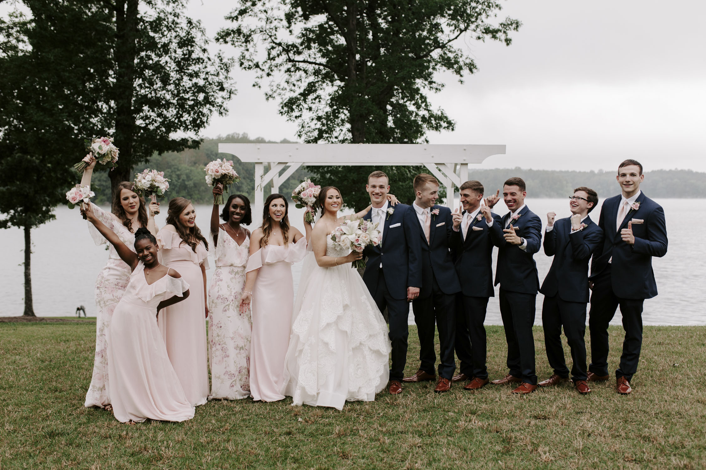 Rainy Bella Collina Wedding - Full Wedding Party Portraits| Kayli LaFon Photography, Greensboro Winston-Salem NC Wedding Photographer