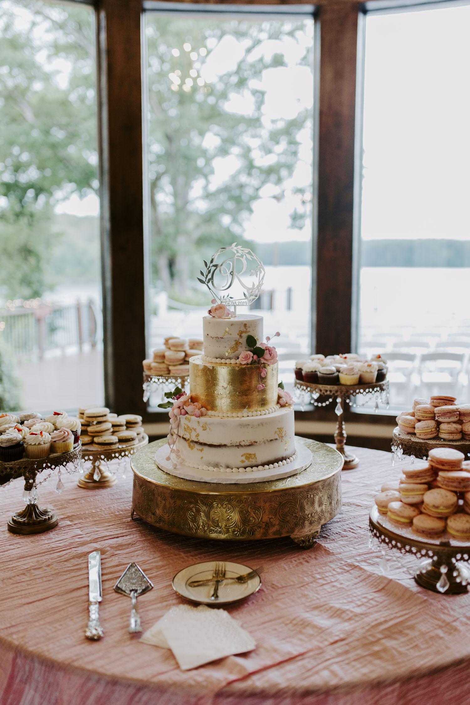 Rainy Bella Collina Wedding Cake, Macarons, and Cupcakes | Kayli LaFon Photography, Greensboro Winston-Salem NC Wedding Photographer