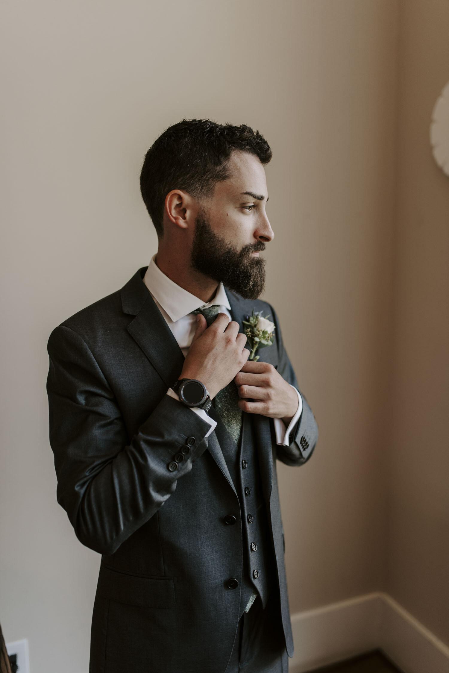 Groom Getting Ready at Bella Collina   By Greensboro, NC Wedding Photographer: Kayli LaFon Photography