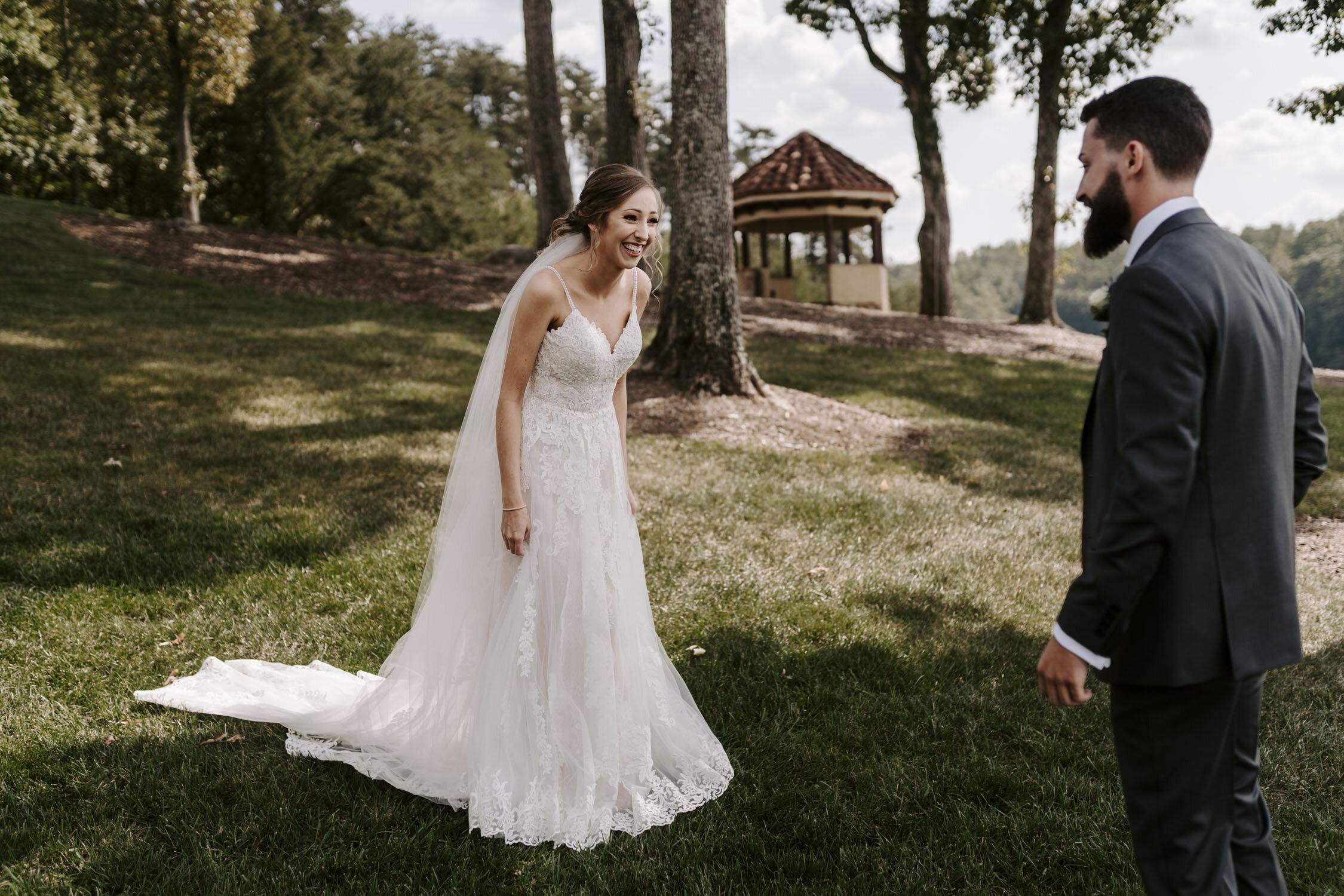 Romantic First Look at Bella Collina   By Greensboro, NC Wedding Photographer: Kayli LaFon Photography