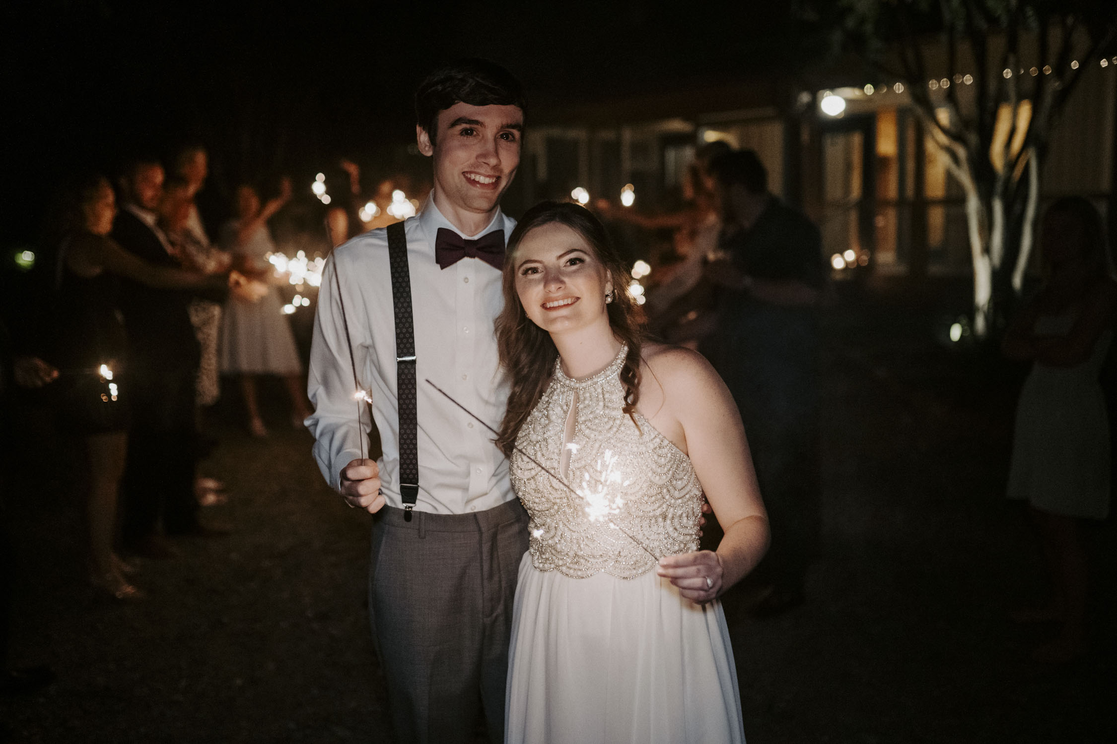 Chapel Hill Wedding Reception Sparkler Exit | Kayli LaFon Photography, North Carolina Intimate Wedding Photographer