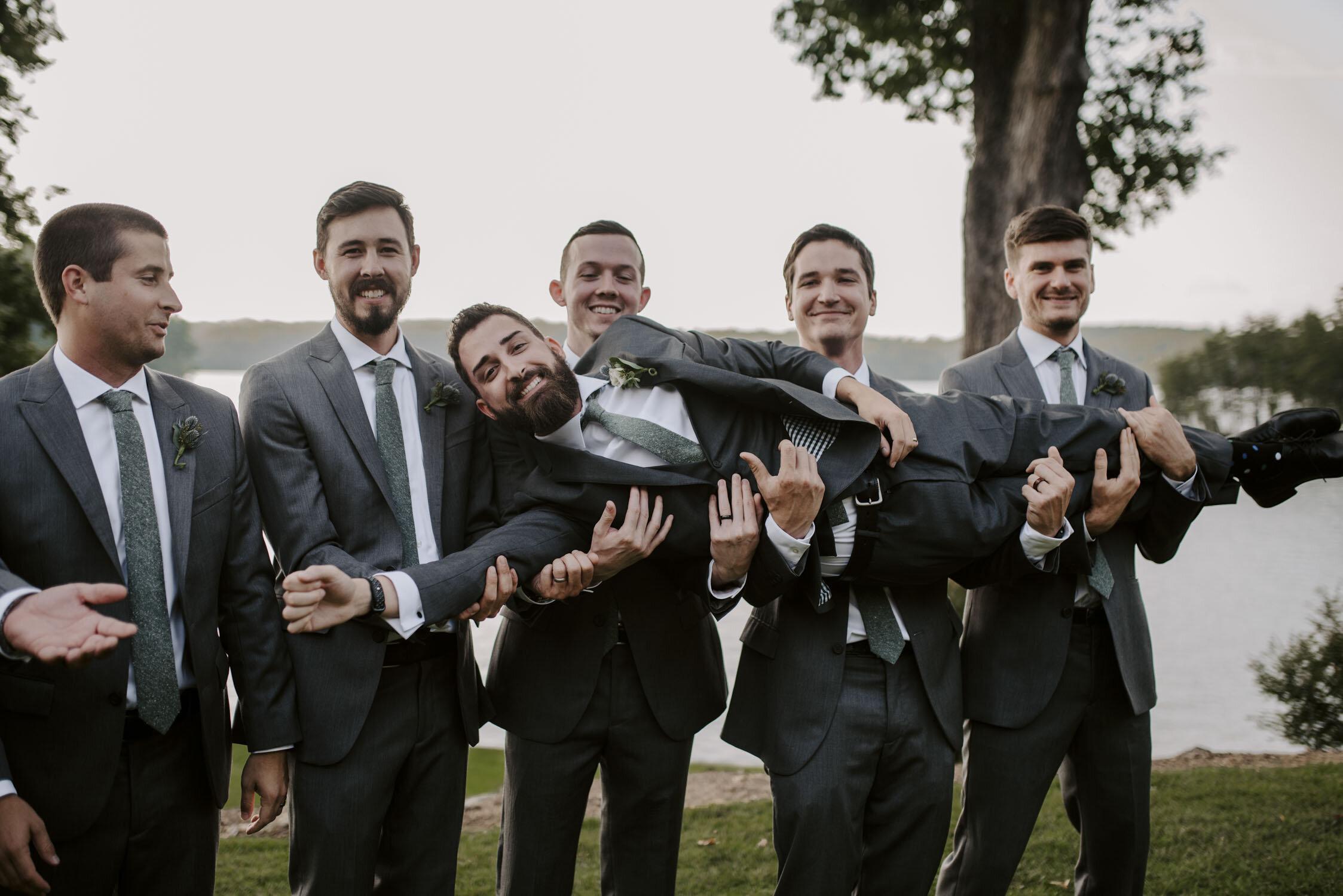 Fun groomsmen & wedding party portraits  at Bella Collina   By Greensboro, NC Wedding Photographer: Kayli LaFon Photography