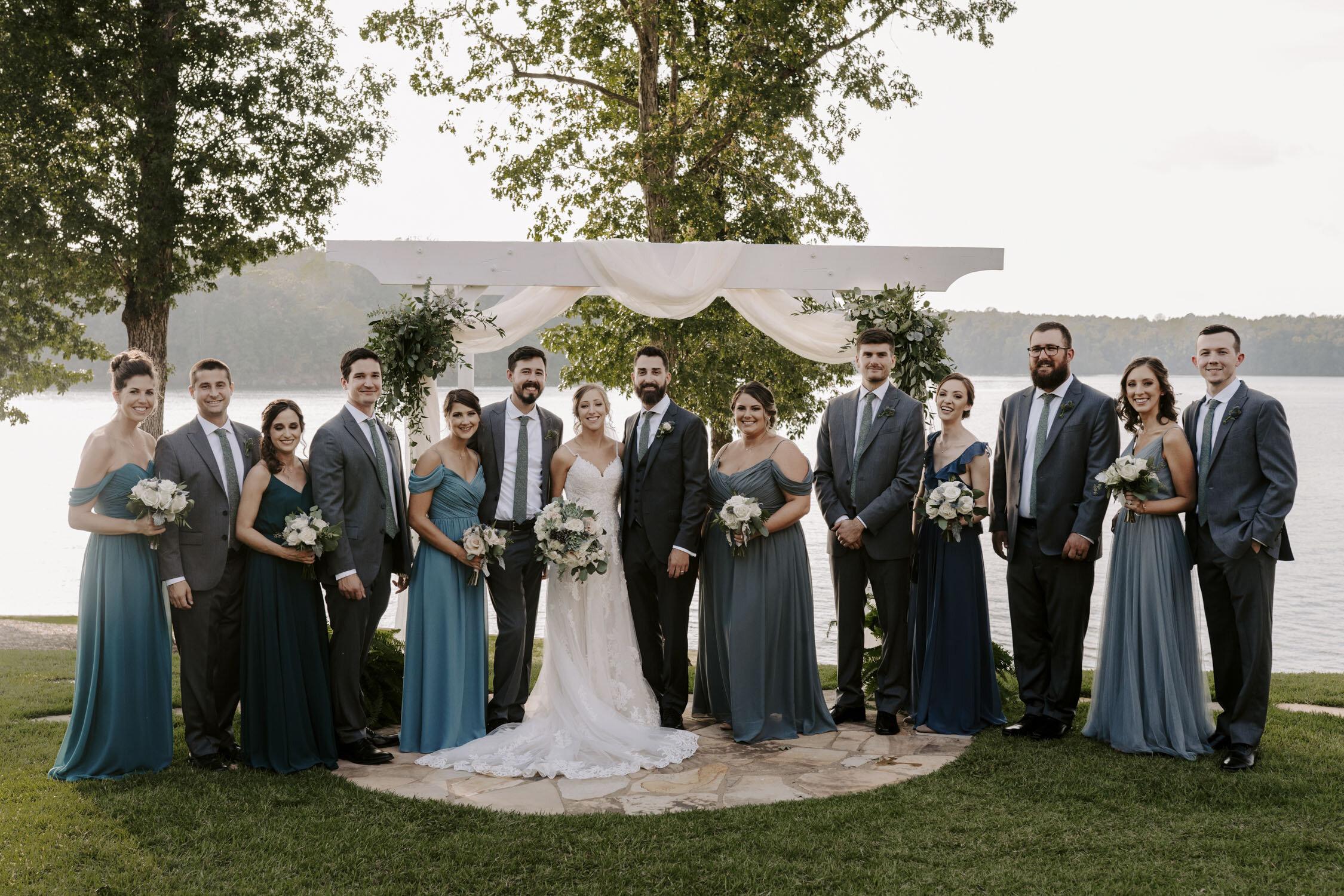 Wedding party portraits at Bella Collina   Bridesmaids and Groomsmen   By Greensboro, NC Wedding Photographer: Kayli LaFon Photography