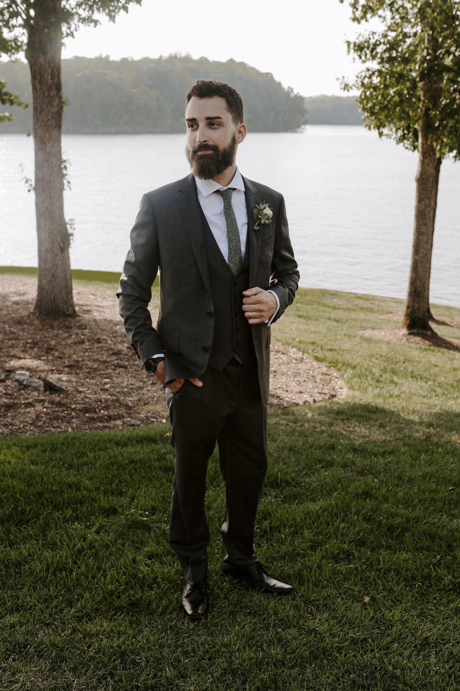 Intimate bride and groom portraits at Bella Collina   By Greensboro, NC Wedding Photographer: Kayli LaFon Photography