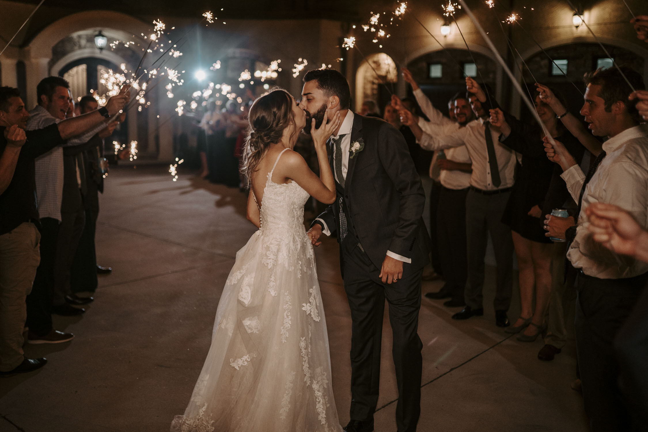 Rustic and Romantic Wedding Reception, Sparkler Exit at Bella Collina   By Greensboro, NC Wedding Photographer: Kayli LaFon Photography