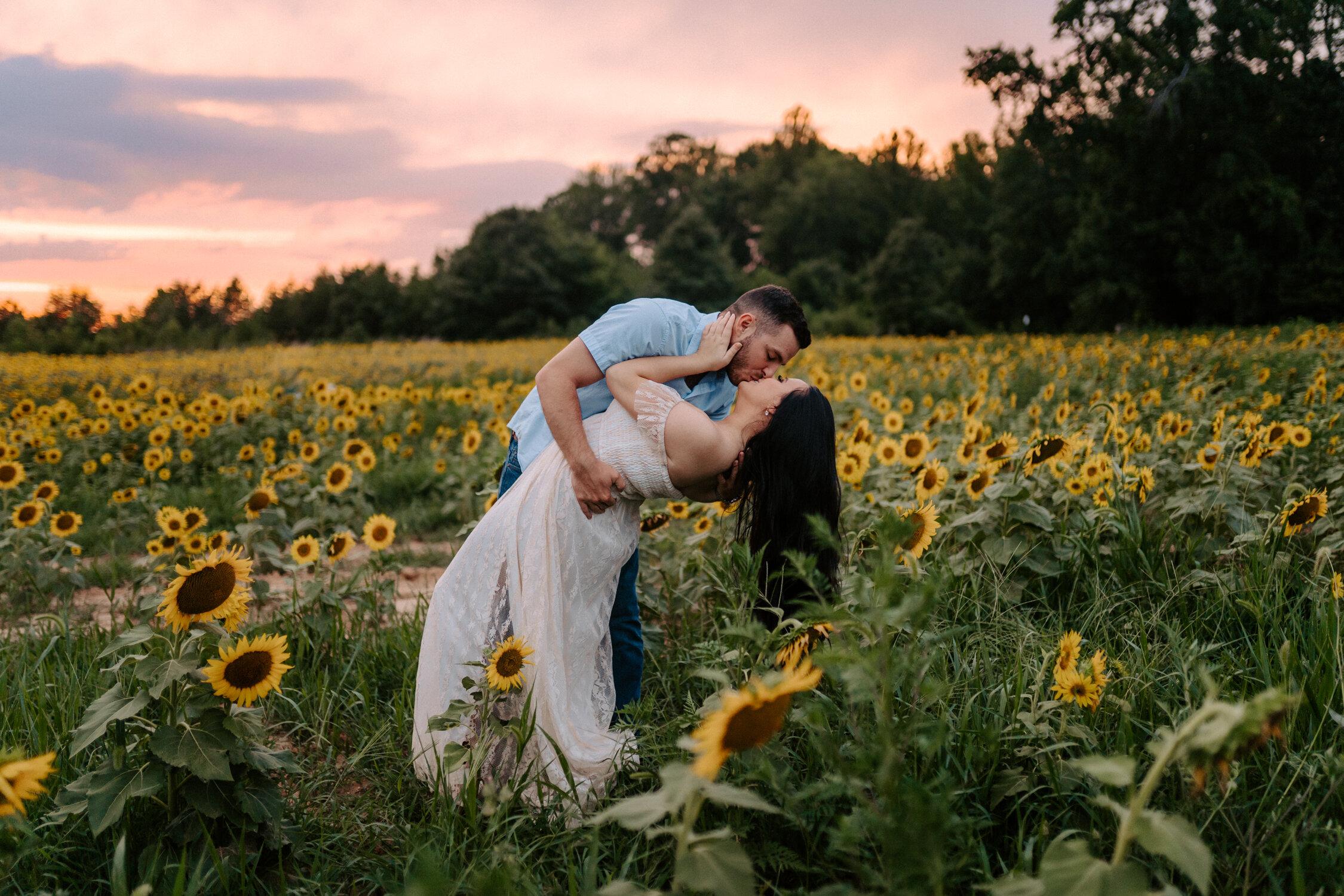 Belews Creek, NC Sunflower Session at Sunset by Kayli LaFon Photography | Dogwood Farms | North Carolina Wedding & Adventurous Photographer