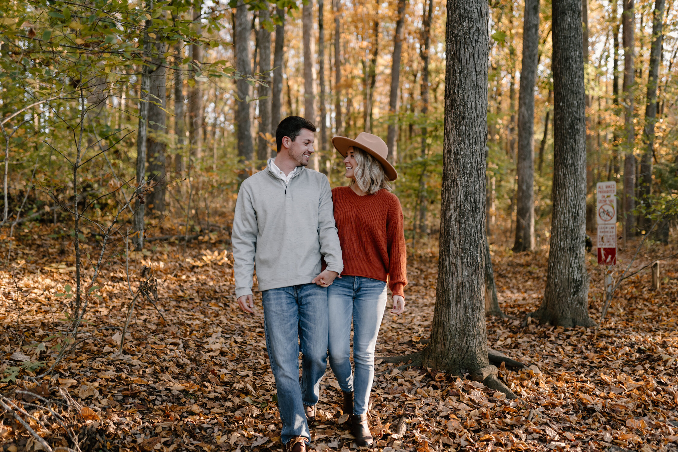 Fall engagement session at Lake Brandt trail